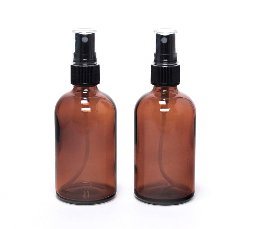 リール影のある面白い遮光瓶 蓄圧式ミストのスプレーボトル 100ml / ( 硝子製?アトマイザー )ブラックヘッド × 2本セット / アロマスプレー用 (アンバー)