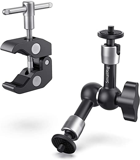"""SmallRig Super Clamp w/ 1/4"""" and 3/8"""" Thread and 5.8 Inches Adjustable Friction Power Articulating Magic Arm with 1/4"""" Thread Screw for LCD Monitor/LED Lights - KBUM2730"""