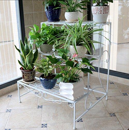 Porte - fleurs en bois de style européen Pots à fleurs à plusieurs étages Escalier à fleurs Balcon à trois étages Balcon (Couleur : Blanc, taille : 90 * 78cm)