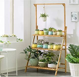 KCPer 3-Tier Bamboo Hanging Plant Stand Foldable Pot Racks Flower Organizer Display Shelves Indoor and Outdoor Use US Stock