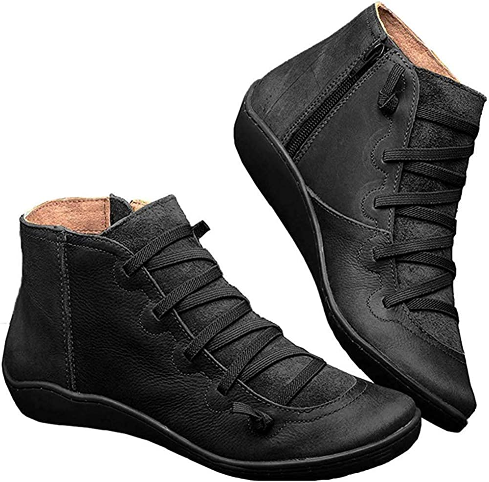 Product Women's Arch Support Boots Casual Lace Ankle Fe Booties Retro up High material