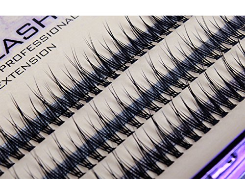Scala 120pcs 8mm/10mm/12mm/14mm/16mm to Choose Fish Tail Design 0.1 C Curl 3D Individual Mink False Eyelashes Extension Soft Black Fake False Eye Lashes (12mm)
