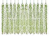 Lvydec 12pcs Artificial Vines Fake Greenery Garland Willow Leaves with Total 60 Stems Hanging for Wedding Party Backdrop Wall Decoration