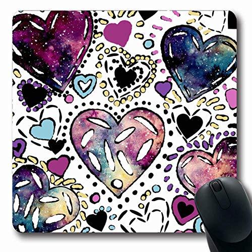 Jamron Mousepad OblongPattern Dot Aquarell Linie Textur Papier Fun Dots Schwarzer Tintendruck Bunter Himmel Abstrakte Texturen Rutschfeste Gummi Mauspad B眉ro Computer Laptop Spiele Mat