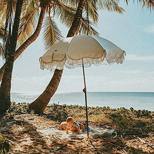 HUWENJUN123 Sombrilla de Playa, sombrilla de Borla de 6 pies con Poste de Aluminio inclinable, sombrilla de Playa portátil con Bolsa de Transporte para Playa, Patio, jardín al Aire Libre