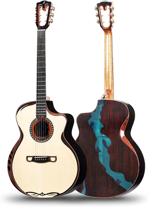 Guitarra Guitarra acústica Hecha a Mano, Tapa de Spruce sólido, Lado de Palisandro sólido y Espalda, Guitarra Hecha a Mano de Lujo de Alta Gama Alta Guitarra de Madera AMINÍ (Size : 41 Inches)