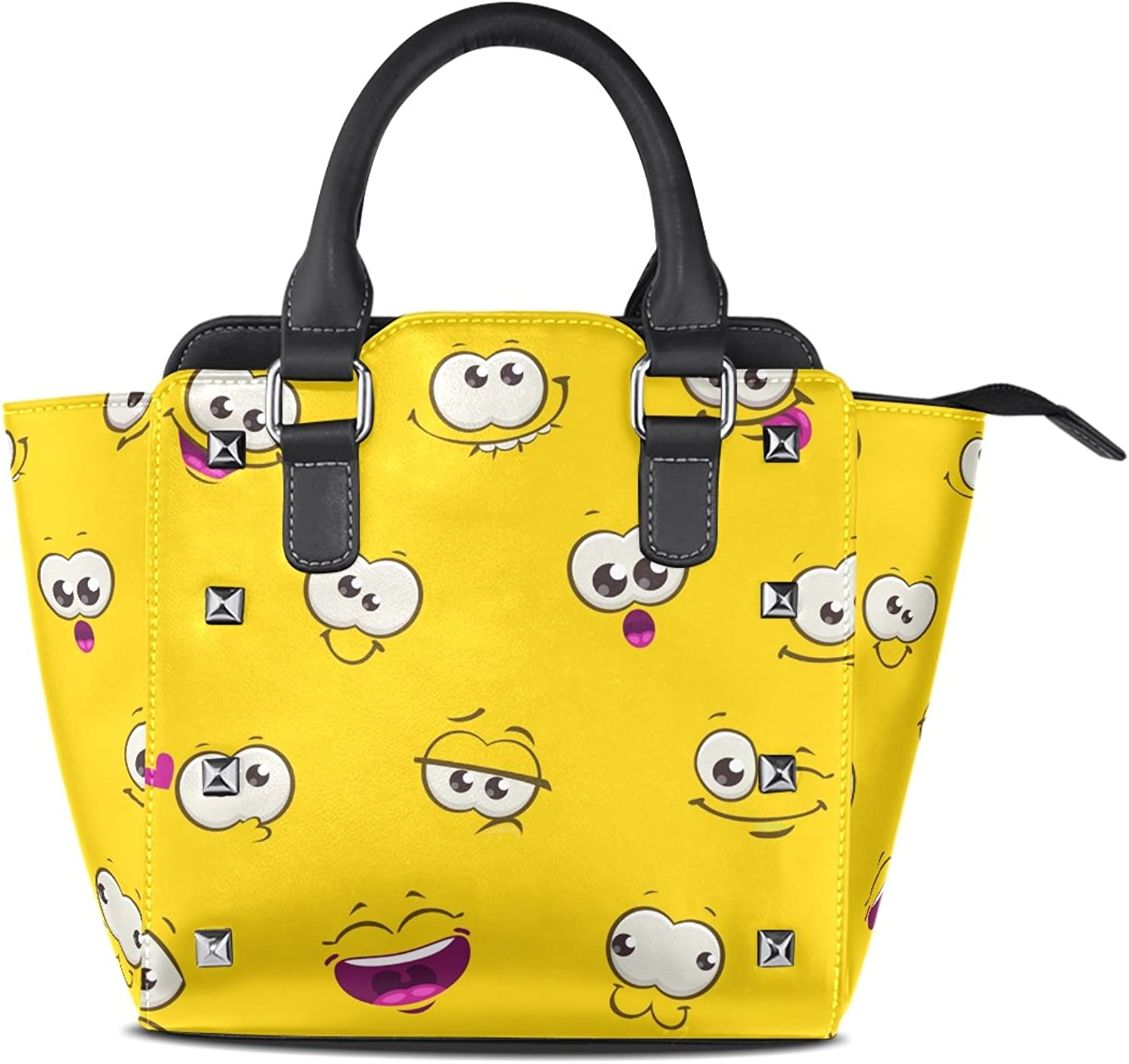 My Little Nest Women's Top Handle Satchel Handbag Yellow Funny Emojis Expressions Ladies PU Leather Shoulder Bag Crossbody Bag