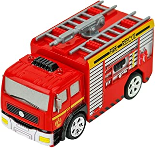 Remote Control Fire Truck, Elaco RC Mini Fire Engine + 4 PC Barricade Palm Size Toys Kids Baby