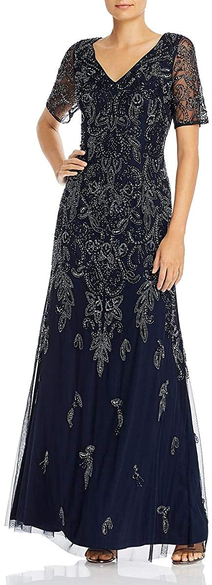 Adrianna Papell Women's V Neck Beaded Gown