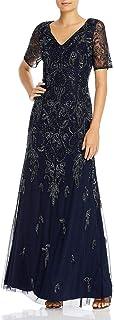 Women's V Neck Beaded Gown