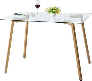 DORAFAIR Mesa de Comedor de Cristal Templado, Estilo Escandinavo Mesa de Cocina Rectangular con Patas de Metal de Grano de Madera