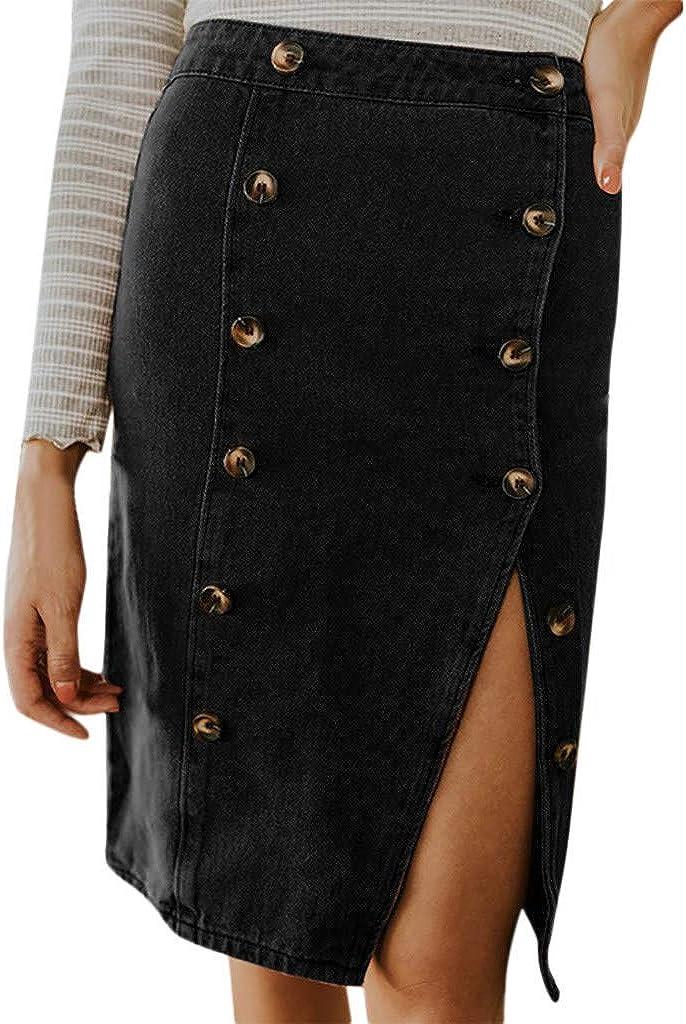 PASATO Women Fashion Elastic Button Denim Open Casual Boot Cut Mini A Line Skirt