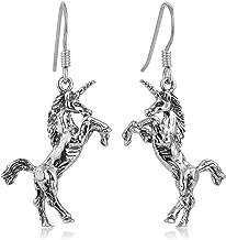 "925 Oxidized Sterling Silver Detailed 3-D Unicorn Magic Mythology Dangle Hook Earrings 1.5"""