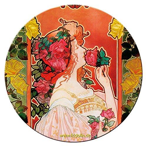 """Fridolin Miroir de Poche 7,6 Cm """"art Nouveau: Parfumerie Rose"""" en Métal"""
