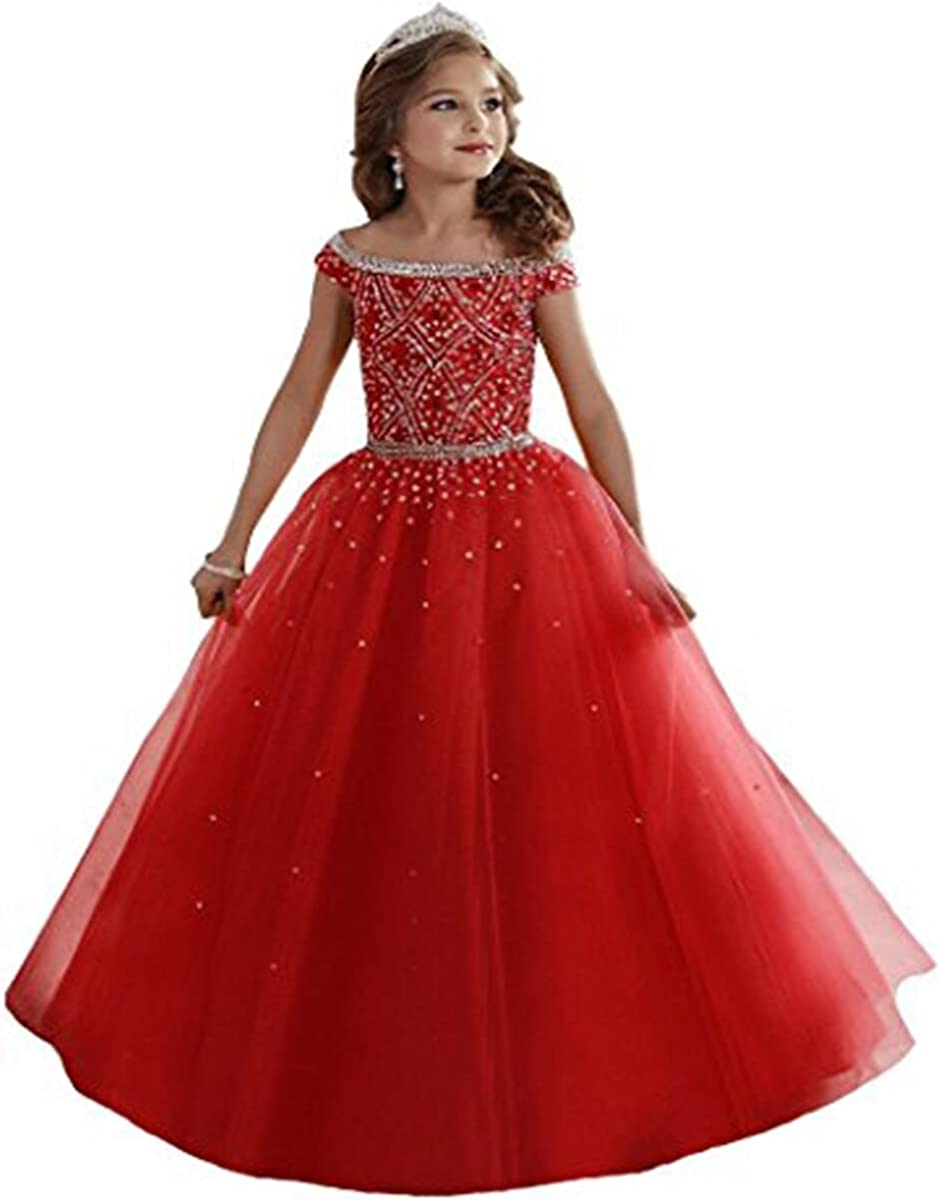 GreenBloom Little Girl's Beaded Crystal Princess Pageant Dresses Long Kids Party Dress