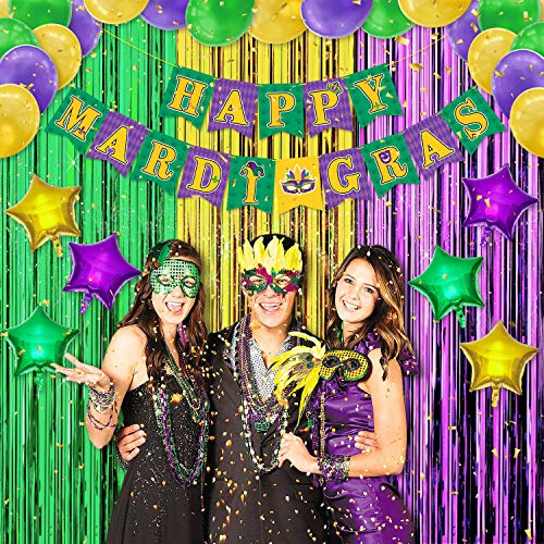 Fantastic Deal! Mardi Gras Party Decorations Set Happy Mardi Gras Banner Green Gold Purple Foil Frin...