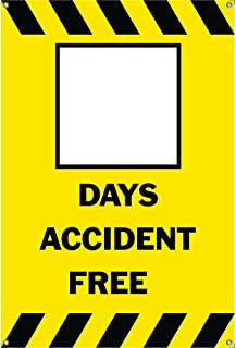 BLANK DAYS ACCIDENT FREE Banner Sign 3ftX2ft Yellow w/ Black Strips