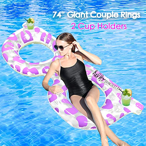 Buy Bargain AMENON 74 Giant Sunglass Inflatable Pool Float Couple Rings Pool Float Lounge with 2 Cu...