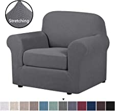 Soft Spandex Chair Covers 2 Pieces Furniture Protector Rich Textured Lycra High Spandex Small Checks Knitted Jacquard Sofa Cover Chair Covers for Living Room (Chair-1 Seater, Charcoal Gray)