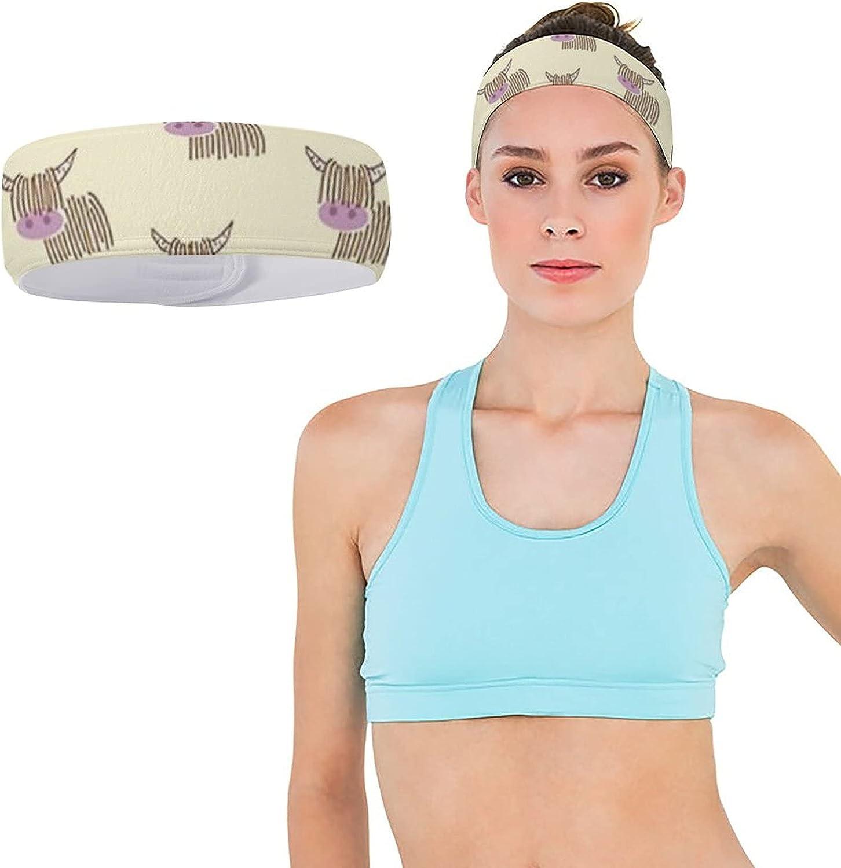 JZDACH Boys Girls Highland Cow Cream Sports Sweatband Multifunction Lovely Head Ribbon Headdress for Sports Workout Shower