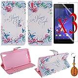 Traitonline ® película protectora + llavero + Stand diseño tarjeta PU estuche de cuero para Sony Xperia T3 funda caso cubierta