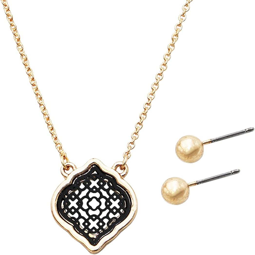 Rosemarie Collections Women's Moroccan Filigree Pendant Necklace Stud Earrings Set