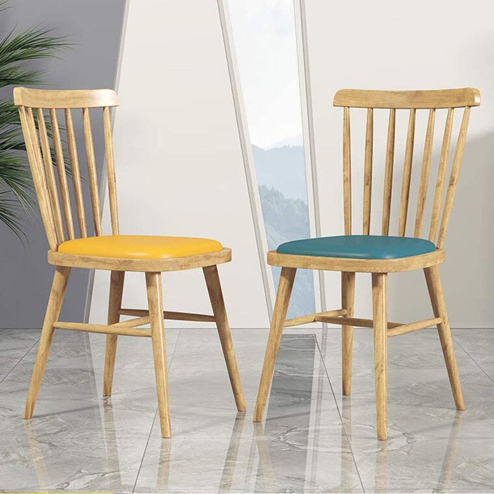 DALL Chaise De Salle À Manger Armature en Métal Chaise De Dossier Coussin PU Restaurant Café Bureau Bureau Chaise De Réception 45x49x87cm (Color : Yellow) Blue