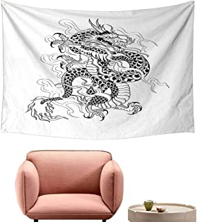 Living Room Tapestry Japanese Dragon Sketch Artwork Style Ancient Mighty Figure with Claws Fire Monster Tattoo Wall Tapestry for Bedroom 23