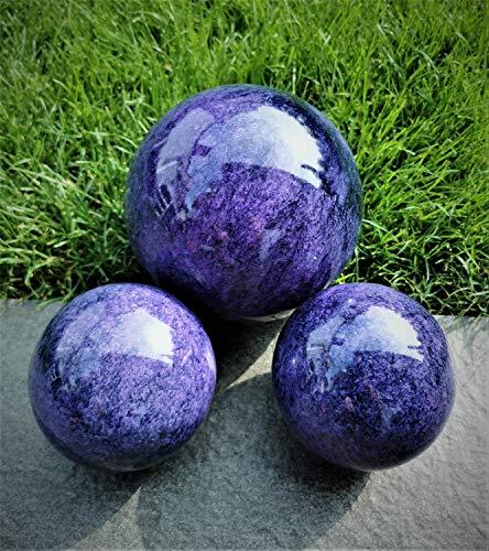 garten-wohnambiente Dekokugel 3er Set 15-10-10 cm Edelstahl blau-lila Kugel Dekorationskugel