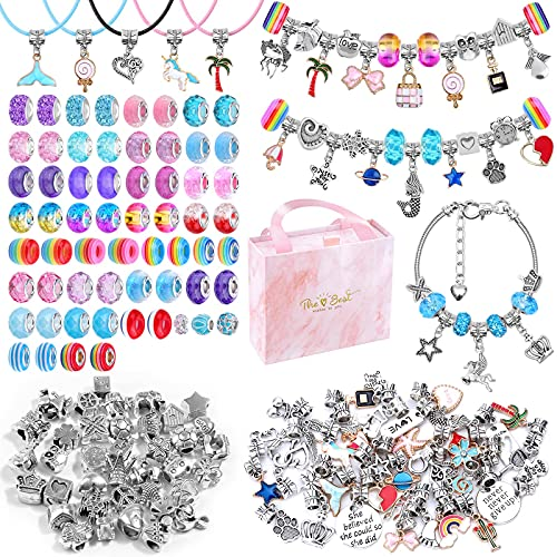 150 PCS Charm Bracelet Making Kit, Ranekie Jewelry Making Supplies Beads Bracelets Charms Necklace Kit DIY Arts and Crafts Gifts for Kids Girls