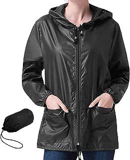 Popoem Women's Lightweight Hooded Rain Jacket Waterproof Raincoat Windbreaker Packable Active Outdoor Zipper Hoodie