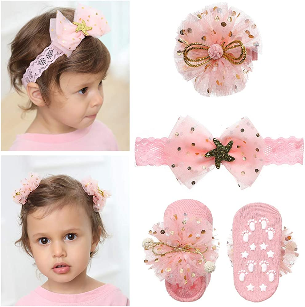 Baby Girl Headband and Socks Gift Set, Cute Bow Hairband Beautiful Bow Hair Clips for Newborn Toddler Girls
