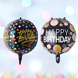 Hivexagon Happy Birthday Foil Balloons 18 Inch 4D Balloons Included 1Pcs Round Shaped Balloon & 1Pcs Sphere Shaped Balloon...