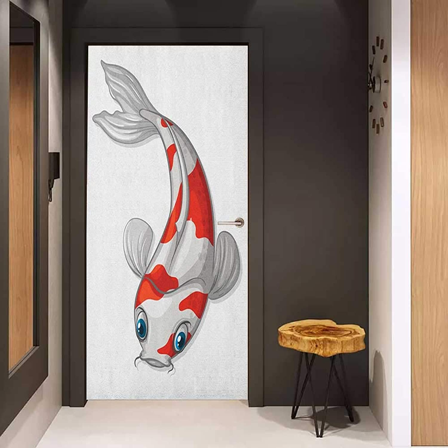 Onefzc Wood Door Sticker Fish Grey and Red Koi Displayed in Dipping Motion Abstract Illustration of Aquarium EasytoClean, Durable W36 x H79 Pale Grey Red bluee