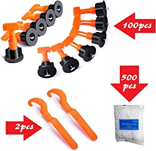 YIYATOO 100pcs Tile Leveler Spacers and 500PCS 2mm Tile Spacer,Tile Leveling System with..