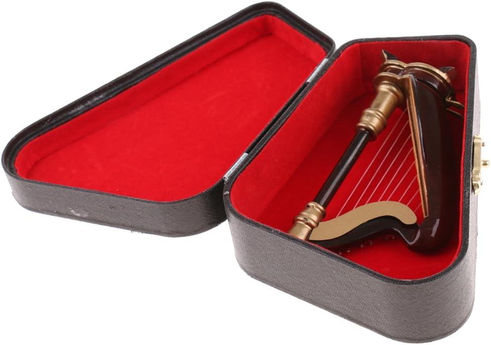 Fenteer Juguete Miniatura Arpa de 8 Cuerdas de Madera Marrón Instrumento Musical con Caja de Dollhouse - 25cm