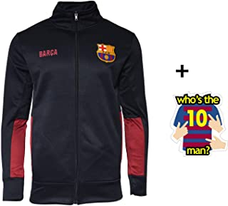 HKY Zip Up FCB Barcelona Jacket Navy Fleece Navy Adults Official Licensed New Season and Sticker