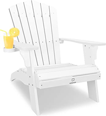 OT QOMOTOP White Adirondack Chair with Cup Holder, Extrawide Poly Lumber Lounge Chair Outdoor Patio Chairs for Garden and Law