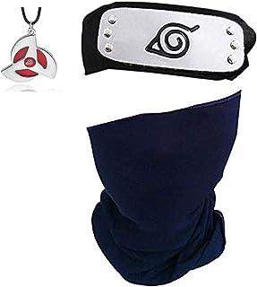 I3C Anime Naruto colier Kunai Konoha Bandeau Pendentif Ensemble pour Ninja Costume Cosplay Frisbee ABS Plastique 4pcs