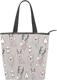 MALPLENA Malpela Nahtlose Handtasche für Damen, Bären- und Elch-Schultertasche