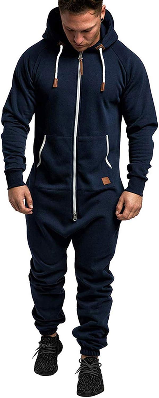 XBTCLXEBCO Men's One Piece Pajamas Jumpsuit Onesie Rompers Autumn Winter Zipper Long Playsuit