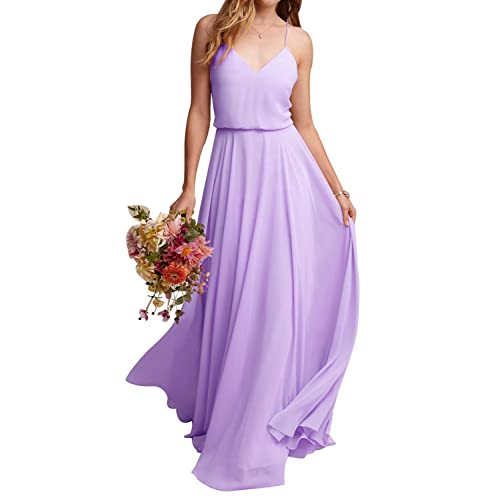 0fb1749d5516 MARSEN Women's Spaghetti Strap Chiffon Bridesmaid Dress Halter V Neck Prom  Gown