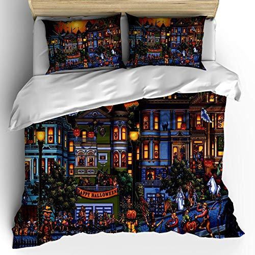 Set copripiumino di Halloween, scena felice di Halloween, set di biancheria da letto decorativo in 3 pezzi con 2 federe per cuscino