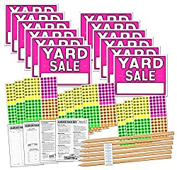 Yard Sale Sign Kit with Pricing Labels and Wood Sign Stakes - $21.98