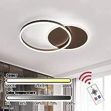 Lámpara redonda anillo marrón empotrada en el techo Muebles Iluminación LED colgantes de la sala de reuniones Sala de dormitorio habitación de los niños, la naturaleza de control remoto blanco y calie