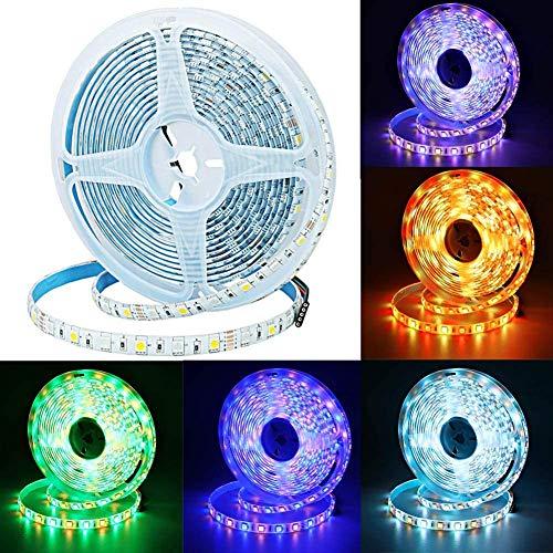 JOYLIT Tiras LED 12V RGBWW Blanco cálido Multicolor RGB 300 LEDs SMD5050 IP65 Impermeable 5M