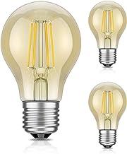 ledscom.de E27 LED lichtgevende gloeidraad vintage amber A60 4W=42W extra-warm-wit 480lm A++ ook weerbestendig, 3 stuks.