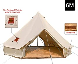 UNSTRENGH Large Beige Luxury 4-Season Camping Cotton Canvas Bell Tent Double Doors..