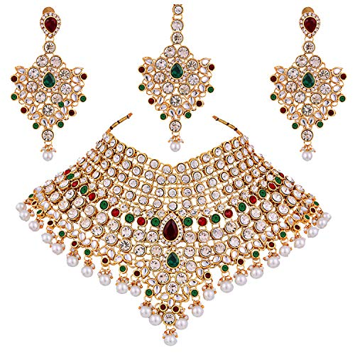 Lucky Jewellery Maroon Green Semi Bridal Dulhan Dulhan Wedding & Engagement Necklace Set with Mang Tikka (1815-L1SS-KD124-MG)