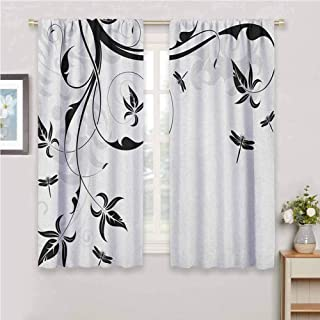 Jinguizi Dragonfly Curtain Panels Swirled Floral Background with Damask Curl Branches and Leaves Print Blackout Curtain Pale Grey Black White 63 x 45 inch